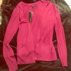 Raspberry colored cardigan